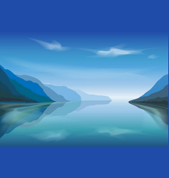 Landscape a mountain lake in morning vector