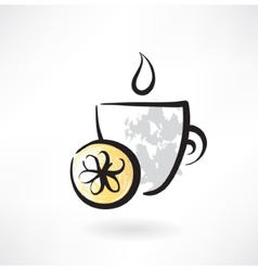 lemon tea grunge icon vector image