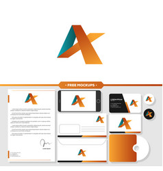 letter a logo branding with stationery mockup vector image