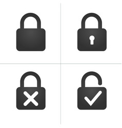 lock icons with keyhole cross and checkmark vector image