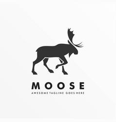 Logo moose deer walking silhouette style vector