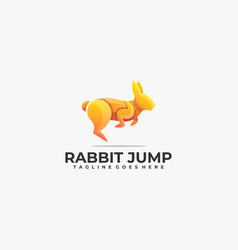 logo rabbit jump gradient colorful style vector image