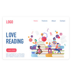 Love reading flat landing page template vector