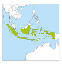map indonesia green highlighted with neighbor vector image