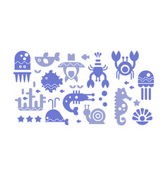 Marine life blue icons set cute sea creatures vector