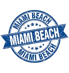 Miami Beach blue round grunge vintage ribbon stamp vector