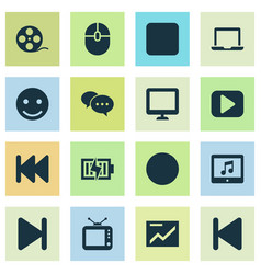 Multimedia icons set collection of energy screen vector