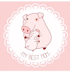 My best mom background with cute pigs vector