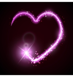 Neon heart on the dark vector image