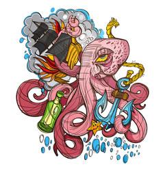 Octopus a ship and a frigate anchored sketch a vector