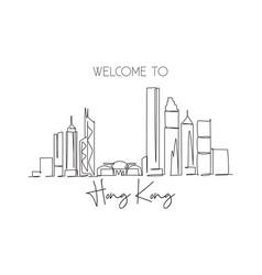 One single line drawing hong kong city skyline vector