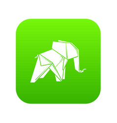 origami elephant icon green vector image