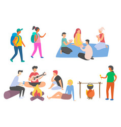 Outdoor campfire people camping friends vector