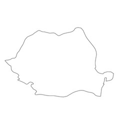 Romania - solid black outline border map of vector