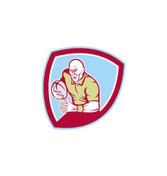 Rugby player running charging shield cartoon vector