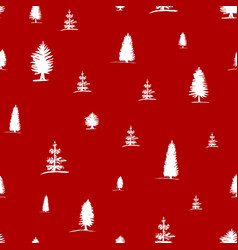 seamless pattern from sketch white trees vector image