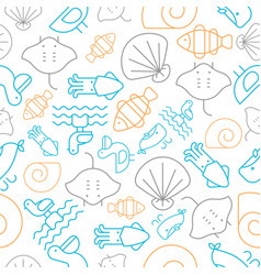 Seamless pattern outline under the sea summer vector