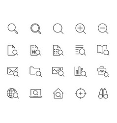 search line icons set zoom find document vector image