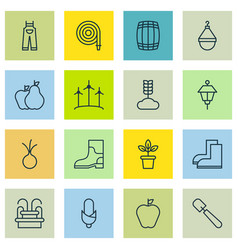 Set of 16 planting icons includes lantern fire vector