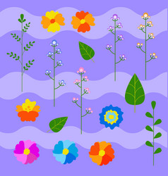 set of flat colored cute flowers and plants on a vector image