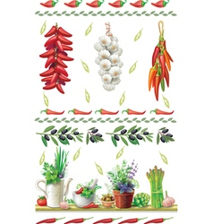 Set of Food borders vector image