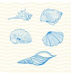 Set of seashells on wave background vector image