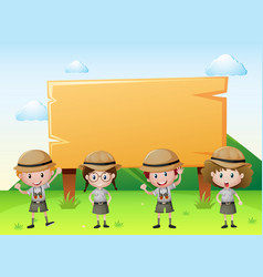 sign template with kids in safari outfit vector image