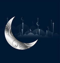 Silver decorative moon and mosque islamic design vector