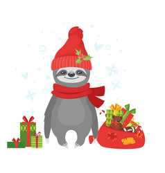 sloth holding santa claus bag vector image