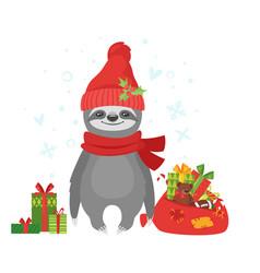 Sloth holding santa claus bag vector