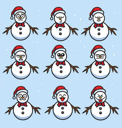 snowman cartoon set character design vector image