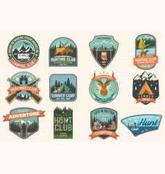 Summer camp and hunting club patches vector