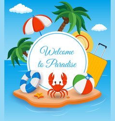 Summer holidays composition with sand beach palms vector