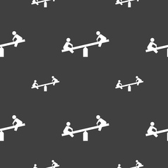 swing icon sign Seamless pattern on a gray vector image