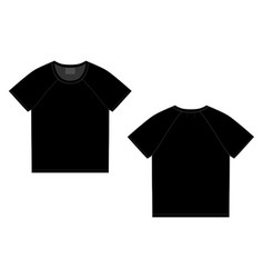 T-shirt raglan design template front and back vector