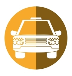 Taxi cab car public transport yellow circle vector