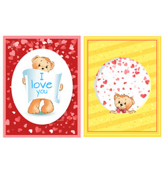 teddy with recognition of love valentine vector image