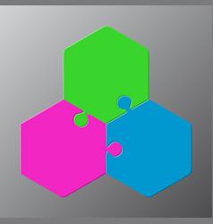 Three piece puzzle hexagon diagram puzzle 3 step vector