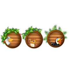 Three round boards with cute birds vector