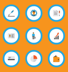 trade icons flat style set with circle graph vector image