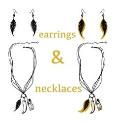 Tribal accessories bijouterie necklace earrings vector image