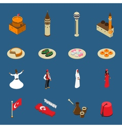 Turkey touristic isometric symbols icons vector