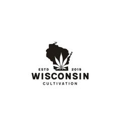 Us wisconsin map cbd cannabis leaf vintage logo vector