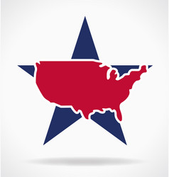 usa map on large star symbol vector image