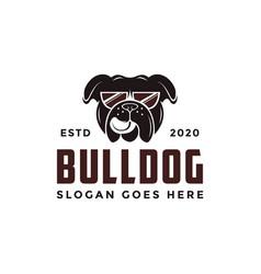 Vintage retro glasses bulldog logo icon vector