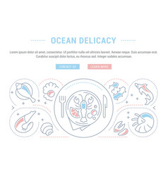 Website banner and landing page ocean delicacy vector