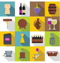 Wine icons set flat style vector