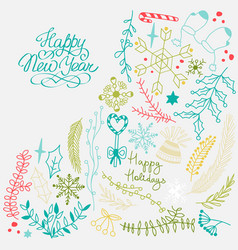 winter natural colorful sketch background vector image