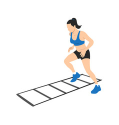 Woman making drill training on agility ladder vector