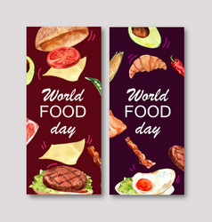 World food day flyer design with hamburger fried vector